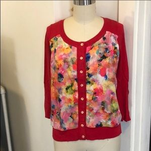 Anthropologie water color red spring colors cardi